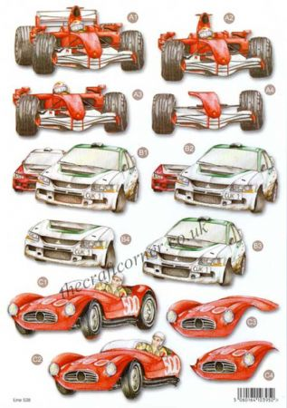 F1, Rally & Classic Cars Die Cut 3d Decoupage Sheet From Craft UK Ltd